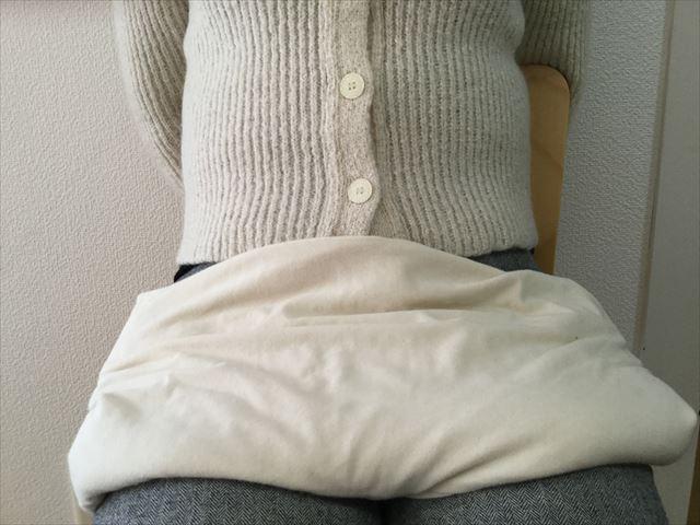 「ハネリOC玄米あんか タマ」を膝の上に置いた様子