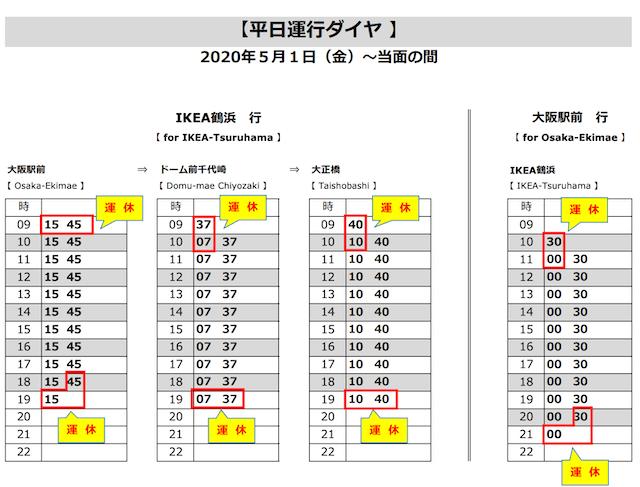 「IKEA梅田大正Expressバス」平日時刻表
