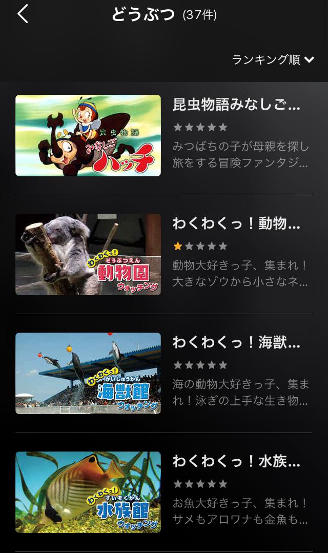 U-NEXTのキッズ番組・動物