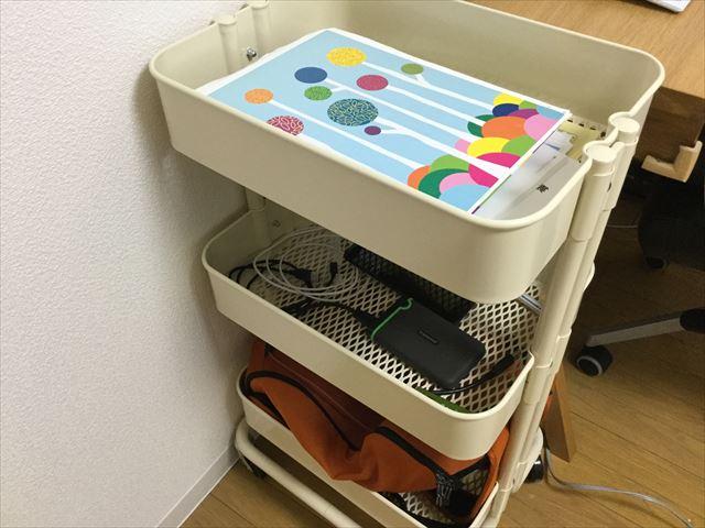 IKEAのワゴン「RASKOG」に収納している様子