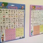 「くもん学習ポスター」ひらがな・カタカナ・かずを壁に貼った様子