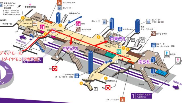 谷町線「東梅田駅」改札周辺地図