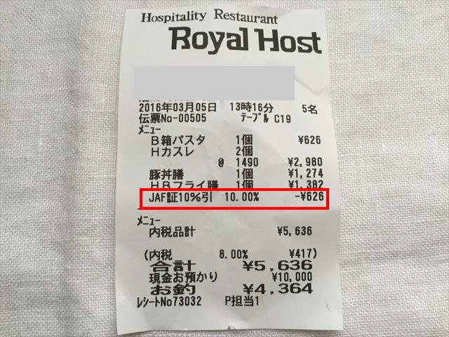 ロイヤルホストの食事が10%割引になったことを証明するレシート