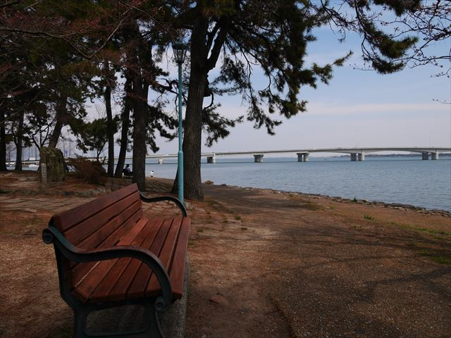 膳所城跡公園からの琵琶湖の眺め