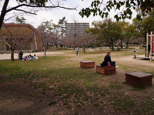 膳所城跡公園の遊具と芝生