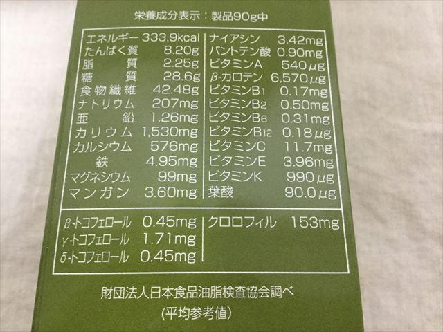 「ふるさと青汁」の原材料名パッケージ