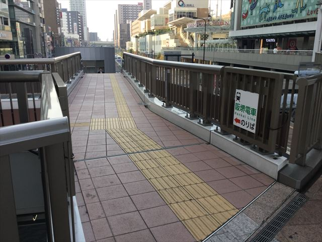 天王寺駅歩道橋から阪堺電車乗り場