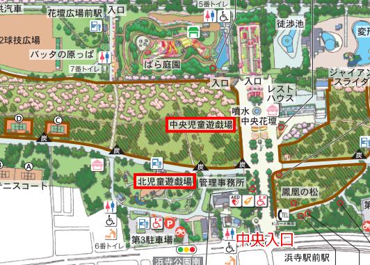 浜寺公園「北児童遊技場」「中央児童遊技場」地図