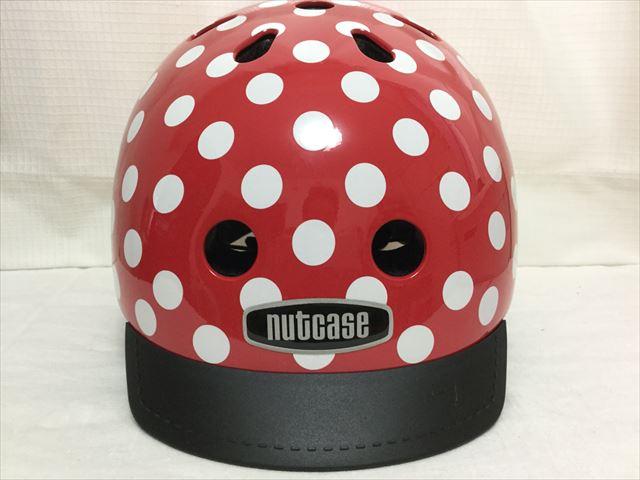 「ナットケース(NATCASE)」子供用自転車ヘルメット(シミミニドッツ)にバイザーを取り付けた様子