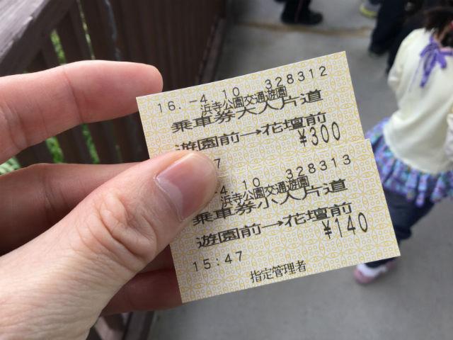 浜寺公園内の汽車乗車券(切符)