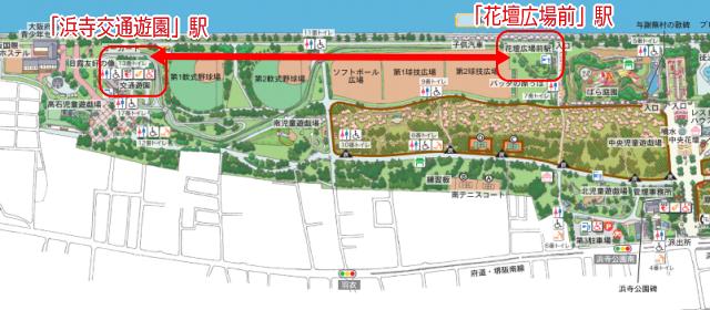 浜寺公園内の汽車乗り場マップ