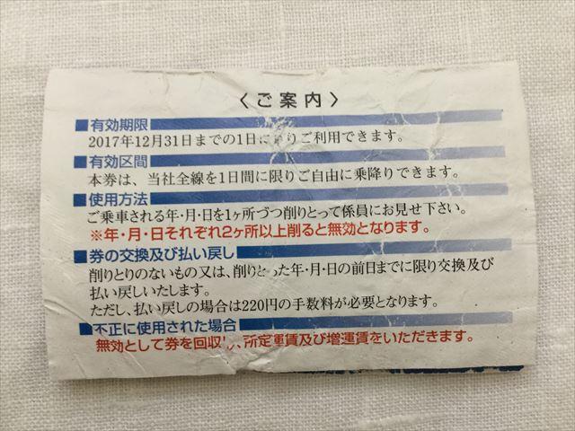 阪堺電車1日乗車券「てくてくきっぷ」裏面