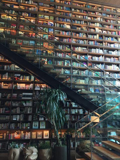 枚方T-SITE4階と5階の階段と洋書棚