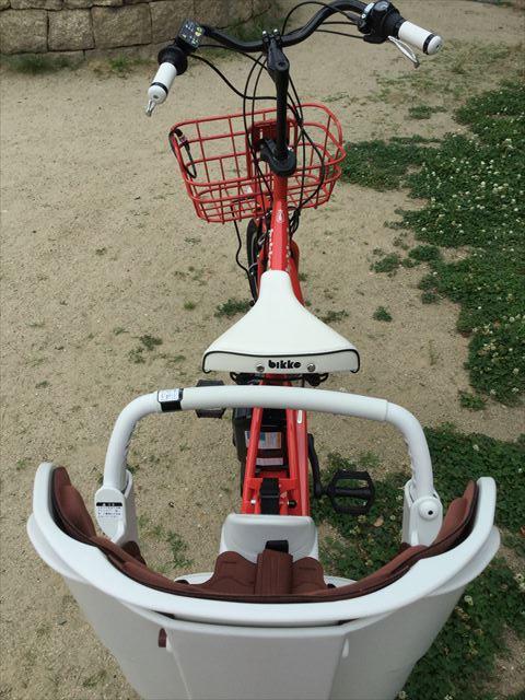ブリジストン子供乗せ電動アシスト自転車「ビッケ2e」上から撮影