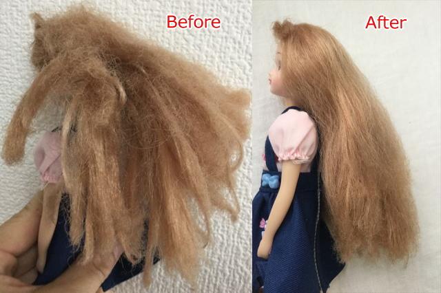 髪の毛が傷んだリカちゃんにクレイツのイオンヘアブラシ「N.C-022」で溶き続けた結果。ビフォアーアフター