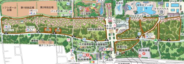 浜寺公園内のバーベキューエリアマップ