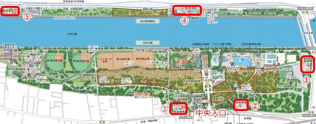 浜寺公園内駐車場(第1~第5駐車場)マップ