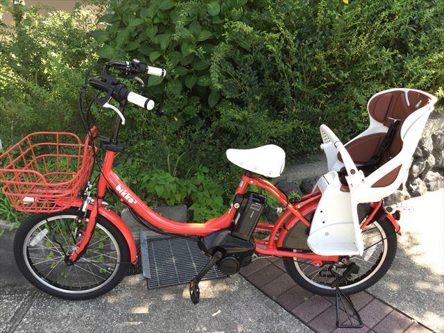 ブリジストン子供乗せ電動アシスト自転車「ビッケ2e」2016年モデル(レッド)、横から撮影
