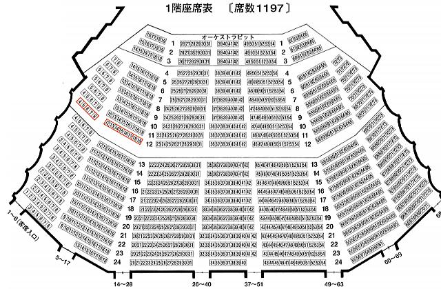 「松山市民会館」大ホール1階座席表