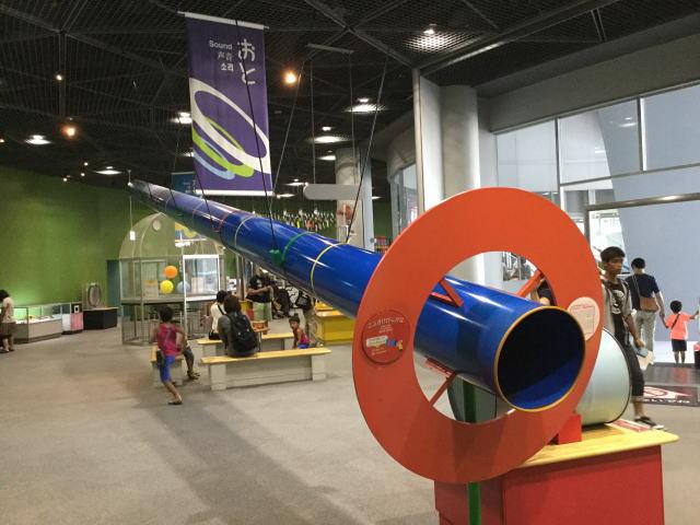 大阪市立科学館、2階展示場、声が響く筒