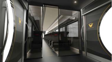 京阪特急の指定席「プレミアムカー」の車内の内装(黒色)