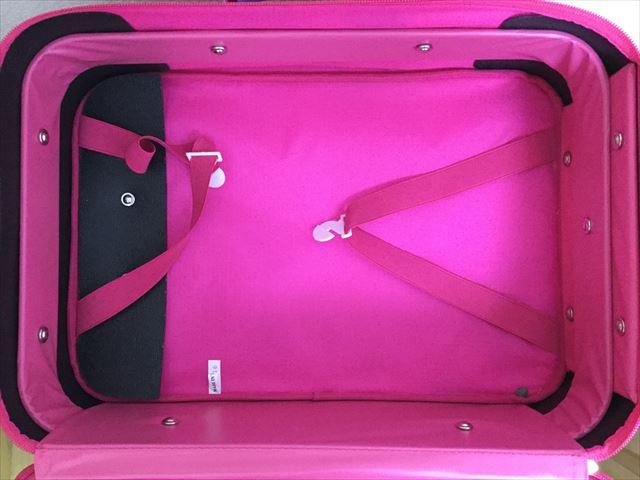 フェフェ(fafa)のキャリーバッグ、ピンクフェアリー、チャックを開けて中を撮影