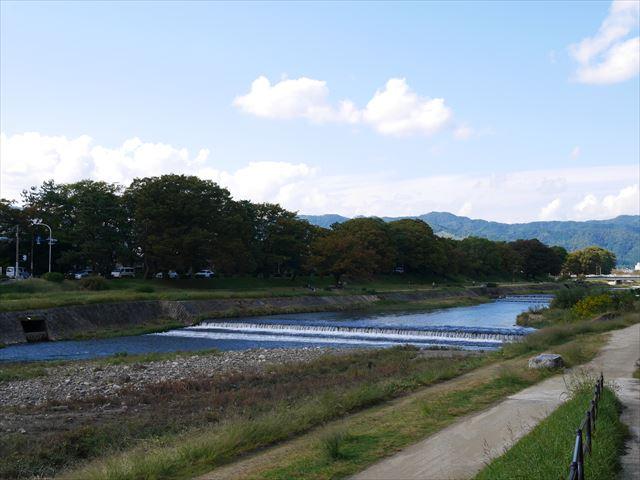 京都府立植物園横の鴨川(賀茂川)の流れ
