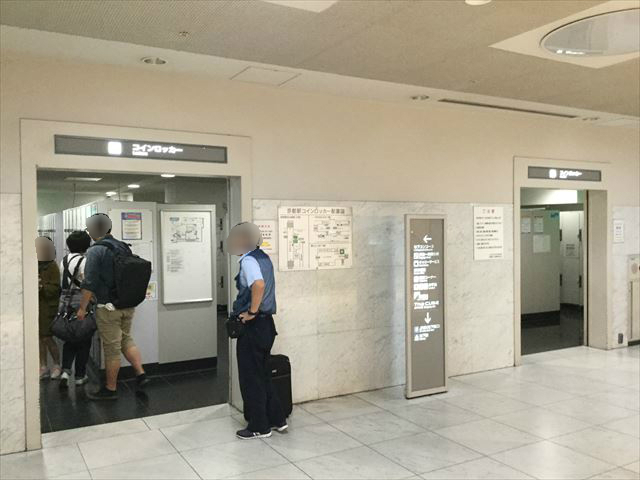 京都駅地下1階のコインロッカー前