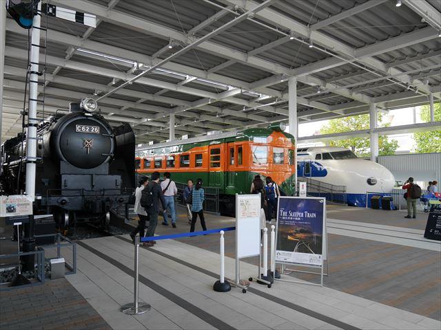 「京都鉄道博物館」展示車両、機関車C62、クハ86-1、新幹線0系