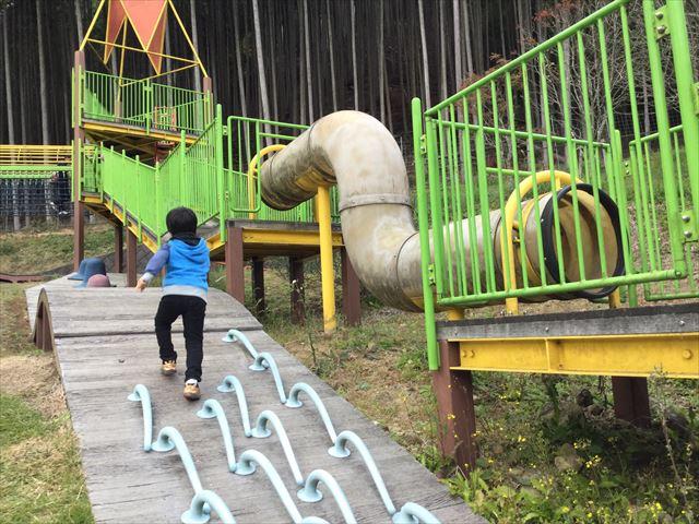 平成榛原子供のもり公園「恐竜の国」細長い遊具、横からも上れるようになっている