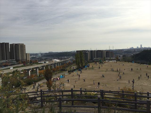 丘の上から彩都西公園を撮影