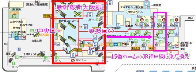 新大阪駅改札、在来線乗り換えマップ