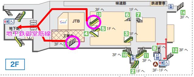 新幹線「新大阪駅」地下鉄御堂筋線乗り換え2階マップ