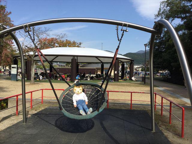 宝が池公園「子どもの楽園」バスケットブランコ
