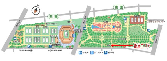 靭公園内マップ、遊具エリア