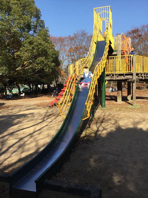 明石公園「子どもの村」木製遊具滑り台で遊ぶ娘