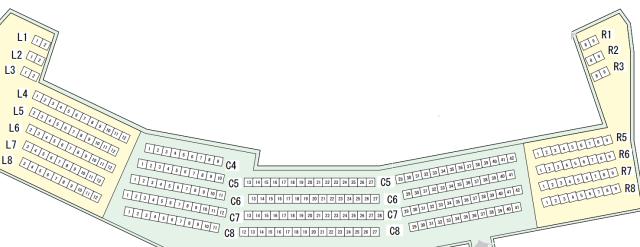 「北上市文化センターさくらホール」3階座席表