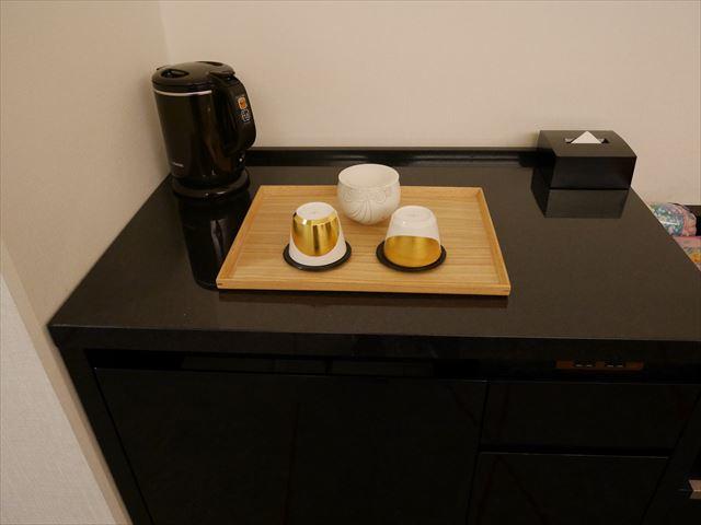 「シェラトン都ホテル東京」コンフォートみやびデラックス内装、お茶