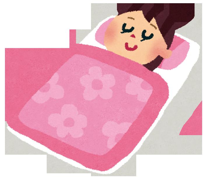 子供が布団で寝ている様子