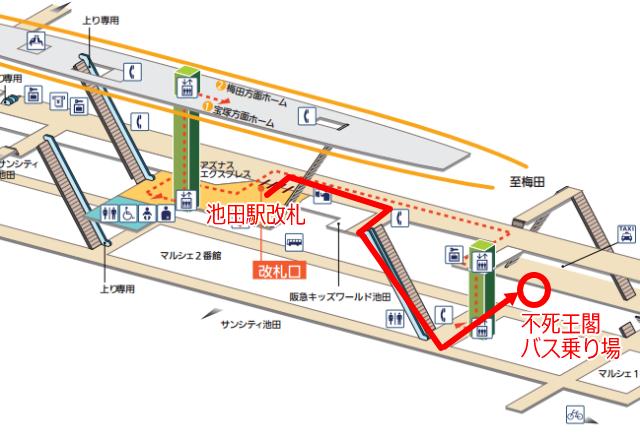 阪急電車「池田駅」不死王閣行きバスの停車地図