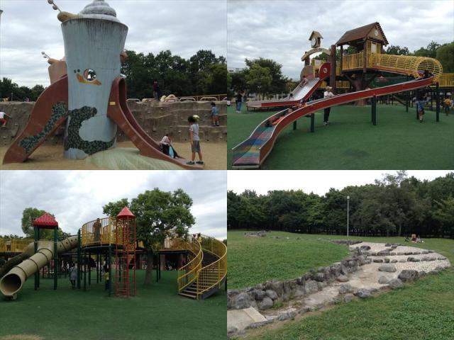 久宝寺緑地の遊具①まいまい広場・よちよちランド、②もくもく元気広場・幼児エリア、公園内の水辺