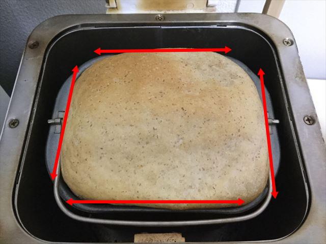 ホームベーカリーのパンの隙間4か所