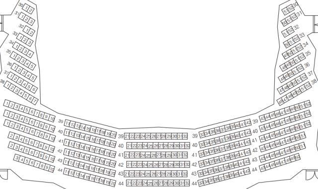 「桐生市民文化会館」シルクホール2階座席表