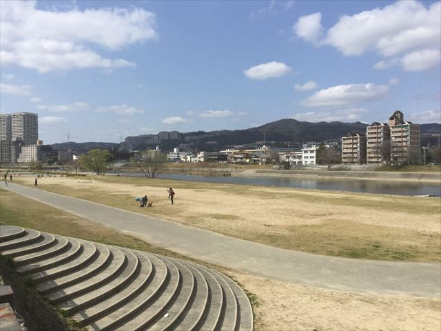 「末広中央公園」横の武庫川