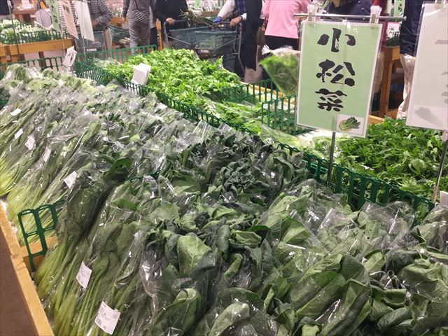 道の駅「愛彩ランド」農産物直売所、小松菜