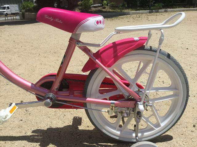 ブリジストンのエコキッズカラフル(18インチ)ピンク、後輪横を撮影