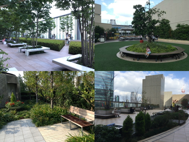 大阪のデパート屋上庭園4枚、阪急、大阪ステーションシティ、グランフロント、ハルカス
