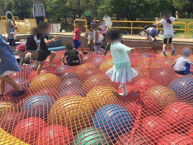 「蜻蛉池公園」チョウの遊具、ボールプール