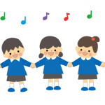 幼稚園で英語の歌を歌っている