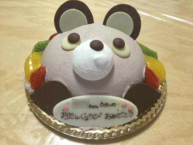 アンテノールのアニバーサリーケーキ「アニマルデコクマさんケーキ」正面から撮影